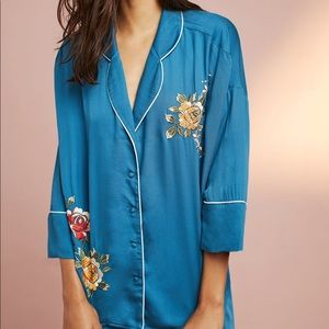 Anthropologie Floreat Pajama Top FlowerEmbroidery